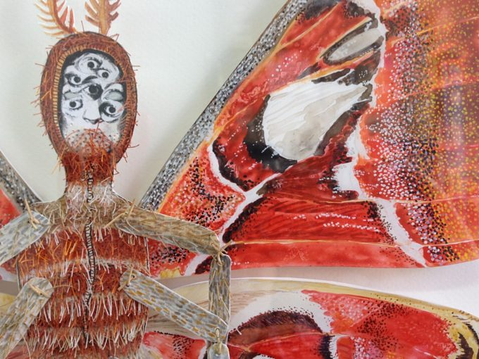 "Detail of Attacus atlas, the largest piece in the Psyche series. 16""x20"", framed."