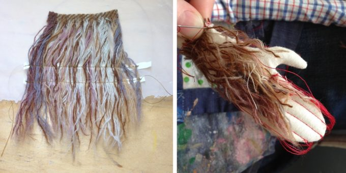 The trim of an old wool blanket is untwisted to become fur.