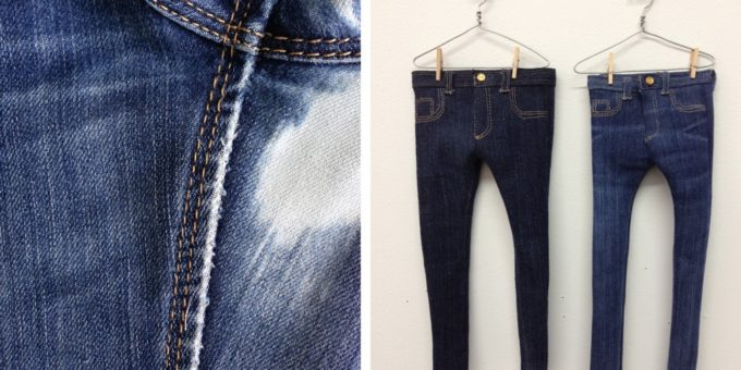 A blown out pair of jeans becomes a tinier pair of jeans (or plural - tinier pairs of jeans).